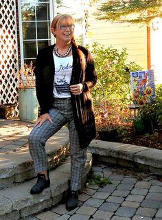 J'adore J Crew Tee, plaid pants and a black cardi.