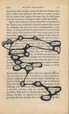 found poetry.... OH MY GOSH I WAN TO TRY THIS!!! or just pick out random words from a page and use them in a poem... But this is amazing! It would get you thinking so much so that even if you can't find a poem on the given page, you'll probably find a poem on the blank page in your mind... I'm thinking cure for writers block