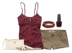"""""""Untitled #419"""" by ohsnapitsalycia ❤ liked on Polyvore featuring Hollister Co., Abercrombie & Fitch, Dooney & Bourke, Volcom, Accessorize and OPI"""