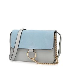 ad6fa5cf4fd60 Magnetic Closure and Metal Ring Design Shoulder Bag Light Blue ( 22) ❤  liked on