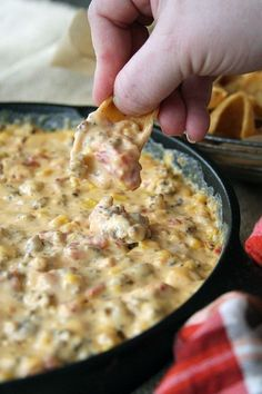 This dreamy Cheesy Sausage Dip is perfect for game day or any day! There's a stovetop and slow cooker version! This dreamy Cheesy Sausage Dip is perfect for game day or any day! There's a stovetop and slow cooker version! Dip Recipes, Mexican Food Recipes, Cooking Recipes, Easy Recipes, Cooking Games, Sausage Recipes, Healthy Recipes, Aloo Recipes, Fondue Recipes
