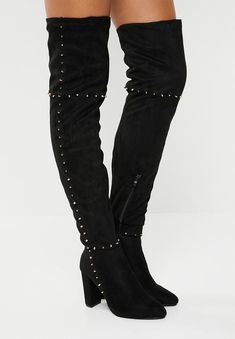 Studded thigh high boot - black STYLE REPUBLIC Boots | Superbalist.com Studded Boots, Black Style, Thigh High Boots, Thigh Highs, Black Boots, Block Heels, Fit Women, Perfect Fit, Two By Two