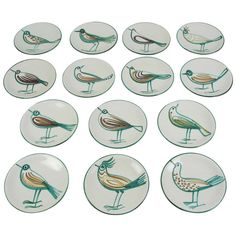 Set of 14 of Robert Picault Vallauris Earthenware Dishes