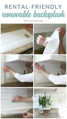 Renter's Best Friend: Temporary Wallpaper - how to use peel-and-stick wallpaper to create an completely damage-free kitchen backsplash. apartment White Subway Tile Temporary Backsplash - The Full Tutorial - The Crazy Craft Lady Rental Home Decor, Rental Decorating, Decorating Ideas, Diy Home Decor For Apartments Renting, Rental Homes, Cottage Decorating, Apartments Decorating, Small Apartments, Interior Decorating