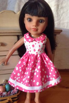 Pink and White dress with ribbon accent for Wellie Wishers or Hearts for Hearts or 14.5 in doll by NanaRaindrop on Etsy https://www.etsy.com/listing/516594555/pink-and-white-dress-with-ribbon-accent