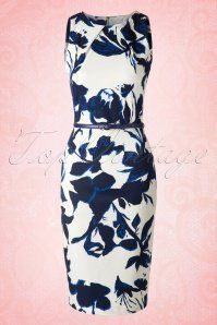 Closet London Summer Bucket Blue and White Floral Pencil Dress 100 59 16012 20150702 0006W2