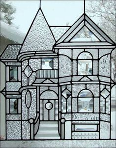 """Victorian Home Stained Glass Window.make smaller version with white """"glass"""" plastic sheets and puffy paint. Patterned glass affixed on back of sheet and puffy paint drawn on front. Stained Glass Designs, Stained Glass Projects, Stained Glass Patterns, Stained Glass Art, Stained Glass Windows, Leaded Glass, Beveled Glass, Mosaic Glass, Glass Door"""