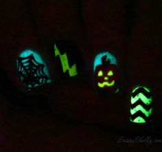 3 different glow in the dark indie nail polishes! Halloween Nail Art