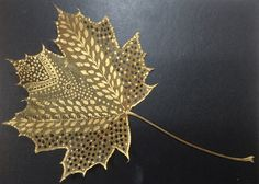 Gold doodles on maple leaf.  I love this gold acrylic paint along with sepia acrylic ink.  The gold is so much brighter with the contrasting sepia.