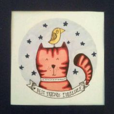Cuadro 24x24 gatito con estrellas marianasanz.tiendanube.con