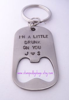 Bottle Opener Keychain Hand Stamped I'm a little by StampedbyShaye, $18.00