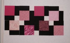 Disappearing 9 patch. This layout uses 4 different pinks in the corners; white in the center; other 4 blocks are black.