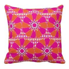 Hot Pink and Orange Bright Flower Pattern Throw Pillow