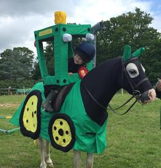 — What a good pony! Rider, Isla Burrows, looks very chuffed to have won. Her mum and nanny made this impressive tractor costume by hand. #horse #halloween