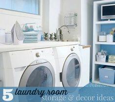 5 Laundry Room Storage & Decor Ideas!! -- Tatertots and Jello #ebay #spon #DIY