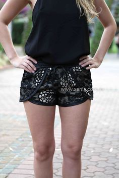 Athletic style black lace Xenia shorts