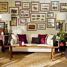 picture collage over couch. living room