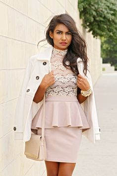 Lovely combination of a lacey shirt with a plain skirt