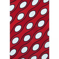 Acura Rugs Modern Curve Red / White Contemporary Rug - Red Curve