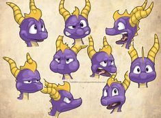 Spyro the Dragon Expression sheet by FaithSDK on DeviantArt Character Sheet, Character Creation, Character Design, Spyro The Dragon, Dragon Art, Crash Bandicoot, Childhood Games, My Childhood, First Video Game