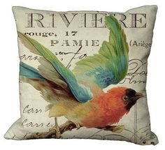 Pretty Bird on French Invoice 20x20 or 18x18 or by Soeuralasoeur, $35.00