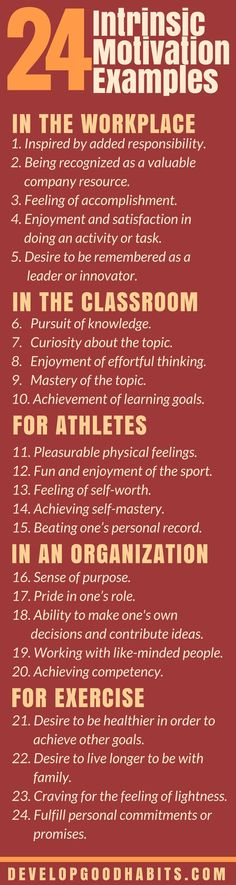 24 Intrinsic Motivation Examples in the Workplace, Sports, and the Classroom | What is intrinsic motivation? What is extrinsic motivation? What is the difference between these inspirational styles? Which can work better for your life? Discover 24 examples of instrinsic and extrinisic motivation to get more from your life...