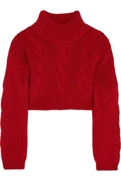 Vivienne Westwood Anglomania|Cropped felt-paneled chunky-knit sweater|NET-A-PORTER.COM