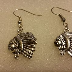 Silver Tone Indian Chief Earrings