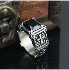 Black Gem + Cross Sign Designed Stainless Steel Men Ring $18.95