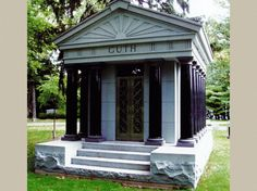 Featured Is A Walk-In Private Family Cremation Columbarium. Mausoleum was Constructed in Tiffany Grey Granite in a Size of x x Memorial Park, Private Property, Cemetery, Old World, Granite, Gazebo, Temple, Construction, Outdoor Structures