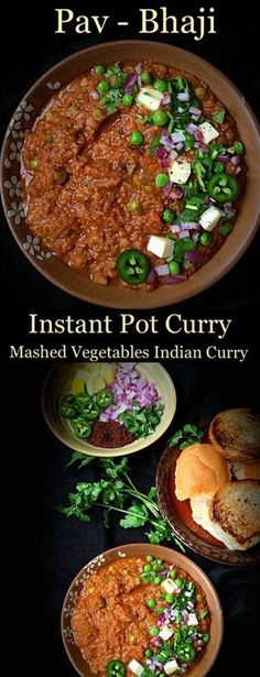 Instant Pot Pav Bhaji Recipe is the lip-smacking delicious street food from Mumbai, India. Potatoes cooked in spicy tomato Curry makes the BHAJI. To counter the heat, bhaji is served with butter grilled Pav or Dinner Rolls. The best part is that this reci Grilling Recipes, Cooking Recipes, Pav Bhaji Masala, Indian Food Recipes, Ethnic Recipes, Diwali Recipes, Indian Snacks, Savoury Recipes, Tomato Curry
