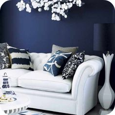 Navy blue & white