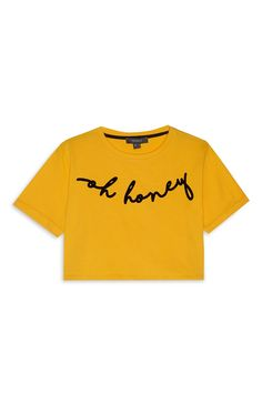 091244767 Primark - Yellow Slogan Crop T-Shirt Women Slogan, Slogan Tops, Slogan  Tshirt
