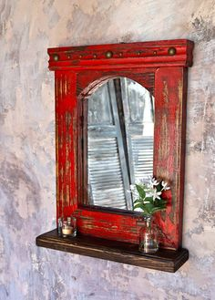 Esteban Mirror Shelf Esteban Mirror Shelf Handcrafted Wood Shelf With Mirror Available In Distressed Colors Esteban Mirror Shelf Sofia S Rustic Furniture Furniture Redo, Recycled Furniture, Shabby Chic Furniture, Rustic Furniture, Antique Furniture, Modern Furniture, Furniture Ideas, Outdoor Furniture, Furniture Market