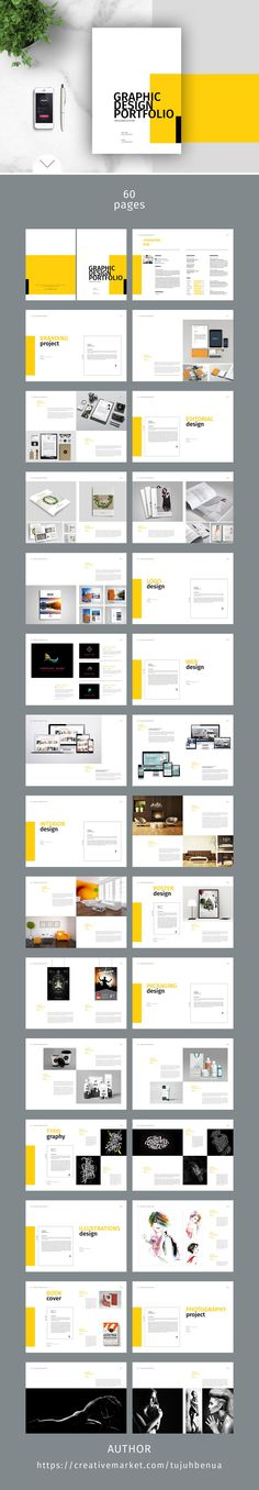 Buy Graphic Design Portfolio Template by adekfotografia on GraphicRiver. Graphic Design Portfolio Template : This is 60 page minimal brochure template is for designers working on product/gra. Portfolio Design, Portfolio Book, Portfolio Layout, Printed Portfolio, Layout Design, Graphisches Design, Design Brochure, Brochure Template, Flat Design