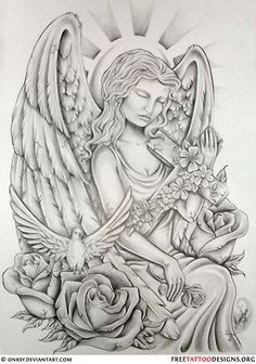 Angel Tattoos Angel Wings, Guardian Angel and St Michael Designs Hello! Here we have good wallpaper about angel tattoo drawings designs. Tattoo Oma, Cat Tattoo, Guardian Angel Tattoo, Angels Tattoo, Guardian Angels, Angel Tattoo For Women, Cherub Tattoo, Cloud Tattoo, Taurus Tattoos