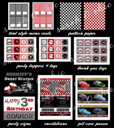 Disney Cars Birthday Party DIY Printable Collection by sarahOchic, $35.00