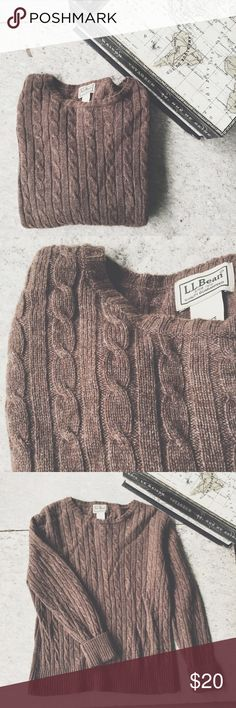 Chocolate tan cable knit sweater lambs wool small L.l. Bean tan brown round neck long sleeve Cable knit sweater. Beautiful and warm 80% lambs wool.  Size small relaxed fit. ll bean  Sweaters Crew & Scoop Necks