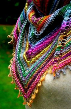 Colourful knitted scarf