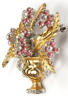Reja Gold Leaves and Pink Topaz Flowers 'Gardenesque' Gold and Pave Flower Pot Pin. 1947.