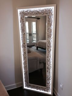 We hand design and build lighted mirrors and home accents with the finest materials. Backlit Mirror, Lighted Vanity Mirror, Led Mirror, Mirror With Lights, Custom Lighting, Hand Designs, Home Accents, Oversized Mirror, Custom Design