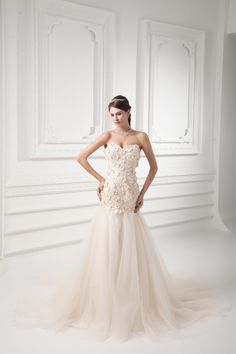 Satin and Net Sweetheart A-line Sweep Train Embroidered Wedding Dress - WooVow