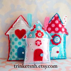 Fabric House Stuffed Ornaments Set of Three by trinketsnh on Etsy, $17.25