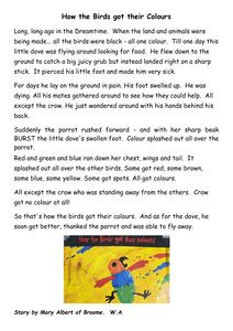 how the birds got their colours activities - Google Search