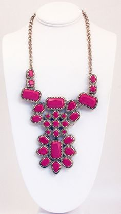 Antique Pink Crystal Necklace - Queen Grace $72.00