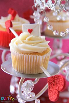 Gorgeous cupcakes at a Valentine's Day Party!  See more party ideas at CatchMyParty.com!  #partyideas #valentine