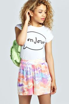 Lucy Cloud Print Flippy Shorts at boohoo.com