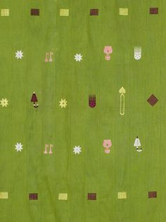 Africa | Detail from a Ewe cloth from Ghana | Cotton and mercerised cotton; strip woven, the green ground sparsely decorated with umbrella, crown, key and comb motifs