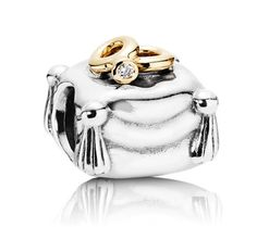 Pandora Silver 14ct Gold and Diamond Romantic Union Charm 790549D