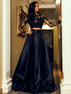 New A-line Scoop Neck Satin Tulle Floor-length Appliques Lace Black Long Sleeve Two Piece Prom Dresses